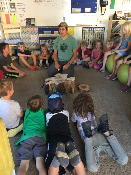 Victoria's 1st & 2nd graders learning dendrochronology