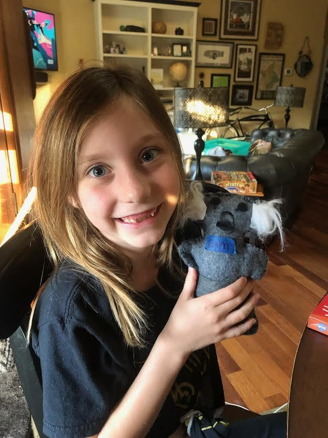 Happy to finish her koala!